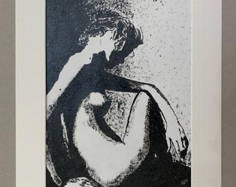 Nude Seated Female Original Acrylic Painting 297x420mm