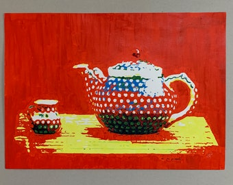 Bolesławiec Polish Teapot and Jug Original Acrylic Painting 594x420mm