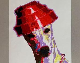 Devo Dog Whippet Good Original Acrylic Painting 594x420mm