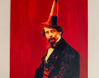 Medway Boy Charles Dickens with Cone Original Acrylic Painting 594x420mm