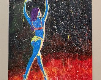 "Ballerina Dancer ""Fire and Ice"" Original Acrylic Painting 594x420mm"