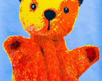 """Sooty, glove puppet from """"The Sooty Show"""": art print, card, poster of original painting by Jonathan Ash"""
