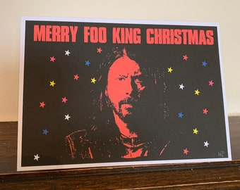 Christmas Greetings Card Dave Grohl Foo Fighters Merry Foo King Christmas: 13 x 18cm (can be personalised)