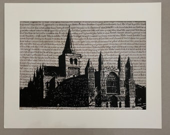 Rochester Cathedral Medway Painted On Magna Carta Page Original Acrylic Painting 297x420mm