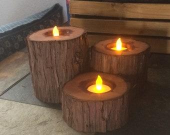 Wood candle pedestals