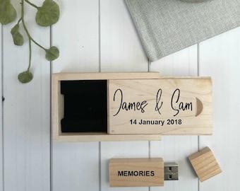 PERSONALISED WEDDING USB with box. Wooden Wedding 8GB Flash Drive