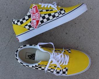 16a75c090c58 Yellow checkered custom vans