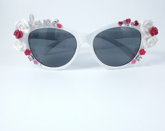 Sparkling Cat's Eye Sunglasses embellished with Rhinestones and Roses hand-made