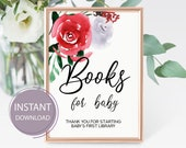 Books for Baby Sign, Baby Shower Printable Book for Baby, Red roses flowers, Girl baby shower, PDF Template, Instant Download, Digital