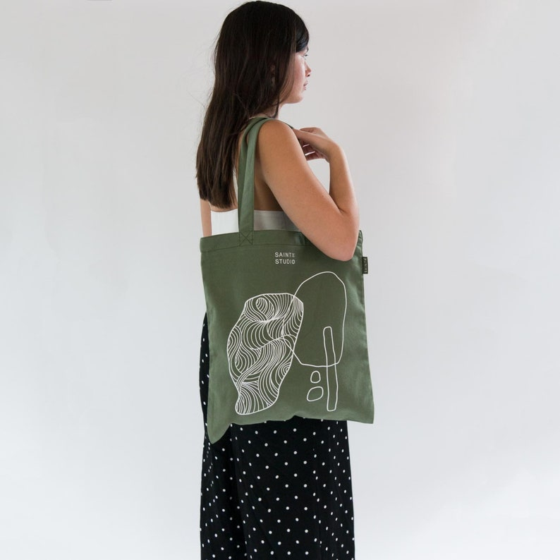 rockpools screenprint Art bag shoulder bag gift for her Carry Tote library bag Canvas Bag with zip and pocket unique present