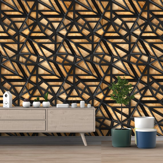 Printmyspace 3d Wallpaper With Black Lattice Tiles On A Wooden Oak Background Prepasted Wall Covering Peel Stick Wall Decor Wallpaper