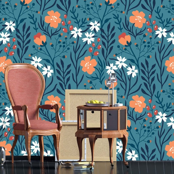 Printmyspace Floral Vintage Wallpaper Prepasted Peel And Stick Wall Mural Wall Covering Wall Decor