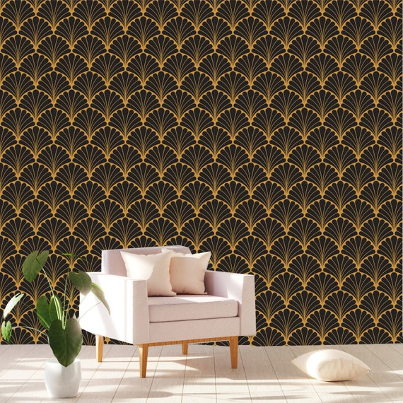 Printmyspace Art Deco Geometric Wallpaper In Black Gold Peel And Stick Removable Black Gold Wallpaper Wall Mural Wall Covering Tapete