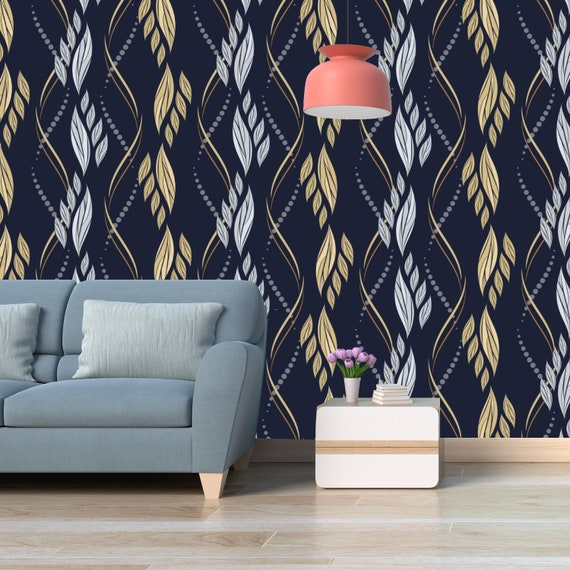 Printmyspace Abstract Leaf Wallpaper Prepasted Peel And Stick Wall Mural Wall Covering Wall Decor