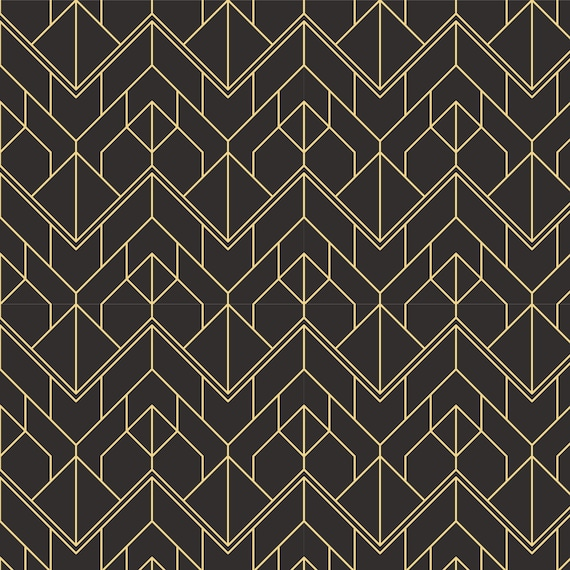 Printmyspace Art Deco Geometric Wallpaper In Black Gold Peel And Stick Removable Black Gold Wallpaper Mural Wall Covering