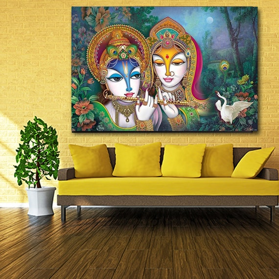 Lord Krishna Sculpture Canvas Wall Art Print Large Any Size