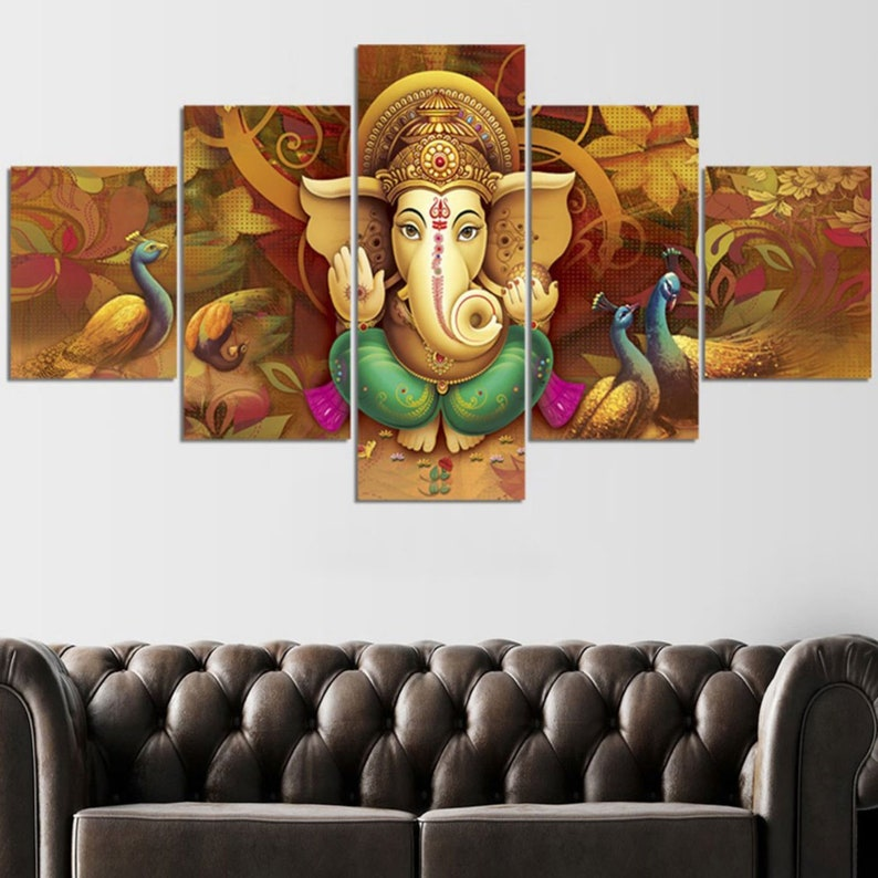 Ganesha Wall Mural In Brown And Gold Ganesha Poster Ganesha Etsy
