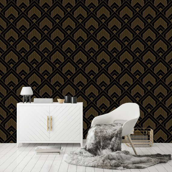 Printmyspace Art Deco Geometric Wallpaper In Black Gold Peel And Stick Removable Black Gold Wallpaper Mural Wall Covering Tapete