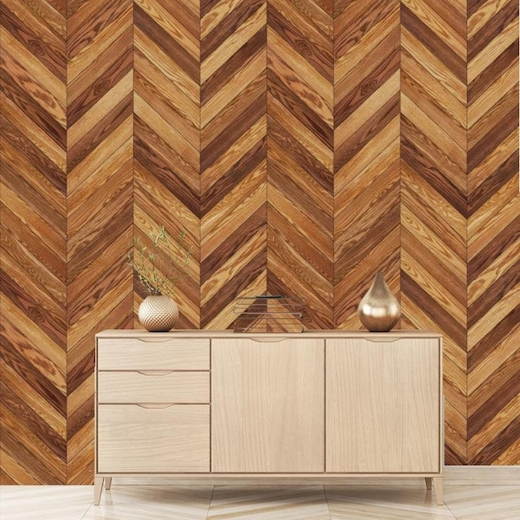 Printmyspace Herringbone Wood Planks Pattern Removable Etsy