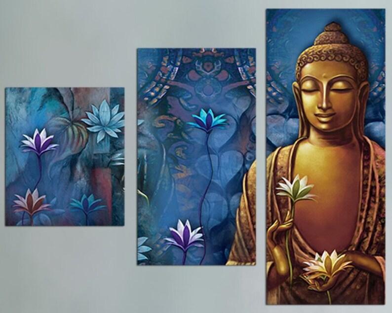 Fine Art Print of Bronze Sculpture of Gautam Buddha Buddha Wall Art withwithout frame Spiritual and Meditation art multi panel Canvas