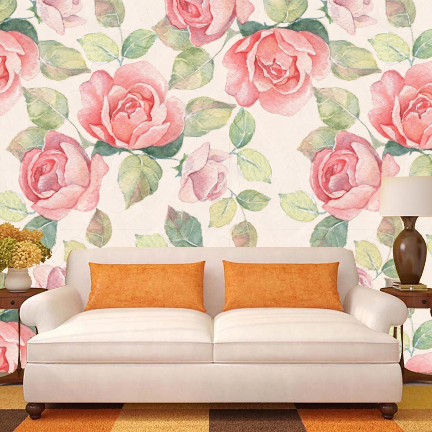 Vintage Large Floral Wallpaper Mural Of Pink Watercolor Roses Etsy