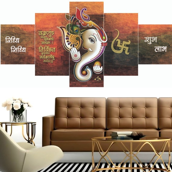 Ganesha Wall Mural In Red And Black Ganesh Poster Ganesha Wall Painting Ganesha Wall Decor Multi Panel Canvas Art With Without Frame