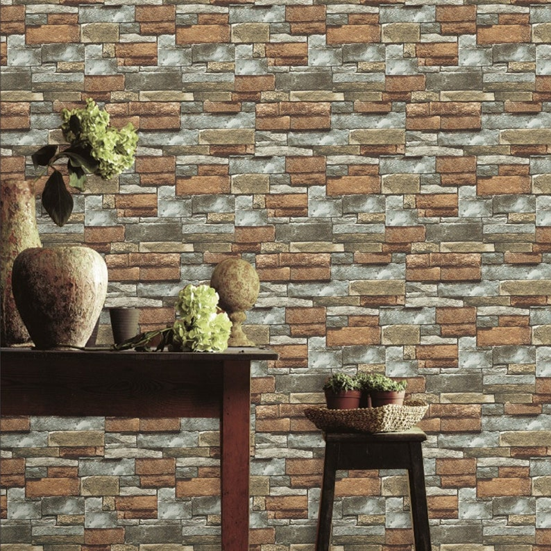 3d Brick Wallpaper Roll In Brown And Gray Stone Brick Wallpaper Mural Wall Covering Wall Art Wall Decor Decal Home Decor Fabric Wallpaper