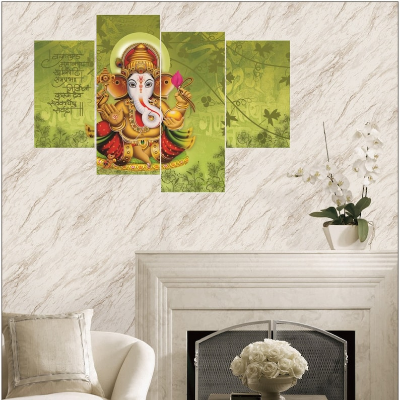 Ganesha Wall Mural With Mantra On Green Ganesha Om Mantra Wall Painting Wall Decor Canvas Art Canvas Print Wall Art Wall Decor Framed