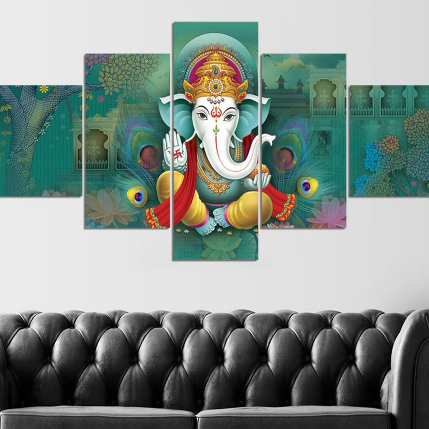 Ganesha wall mural on green background ganesh poster ganesha wall painting ganesha wall decor multi panel canvas art with without frame