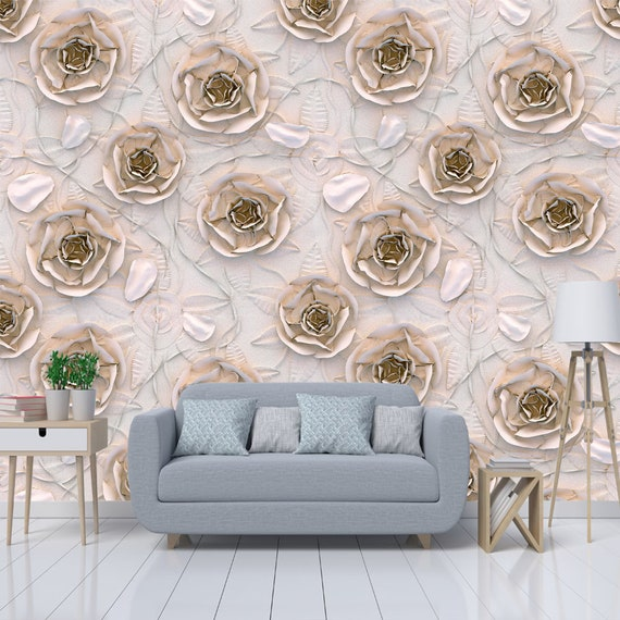 Printmyspace Elegant 3d Rose Gold Roses Wallpaper Self Adhesive Smooth Matte Wallpaper Peel Stick Texture Wall Covering
