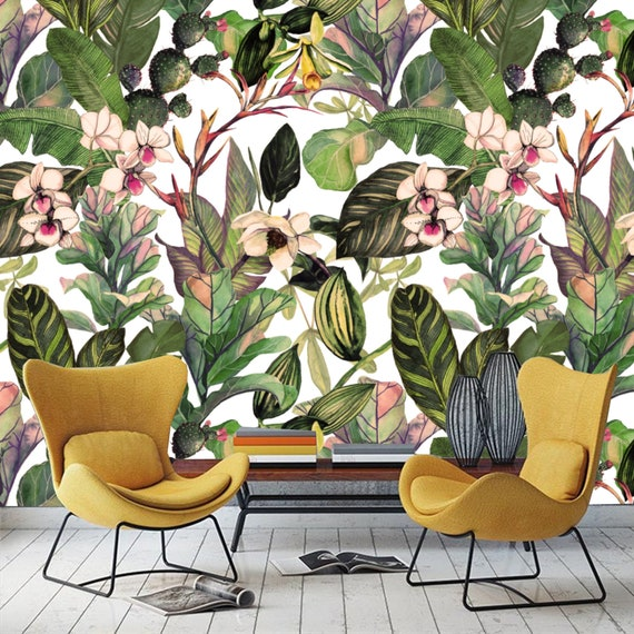 Printmyspace Leaf Floral Tropical Wallpaper Prepasted Wall Mural Wall Covering Wall Decor