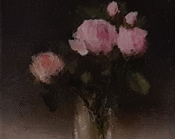 "Original Oil On Canvas 7 x 5 "" Judith Levin Painting - 'Pink Roses in a Glass'"
