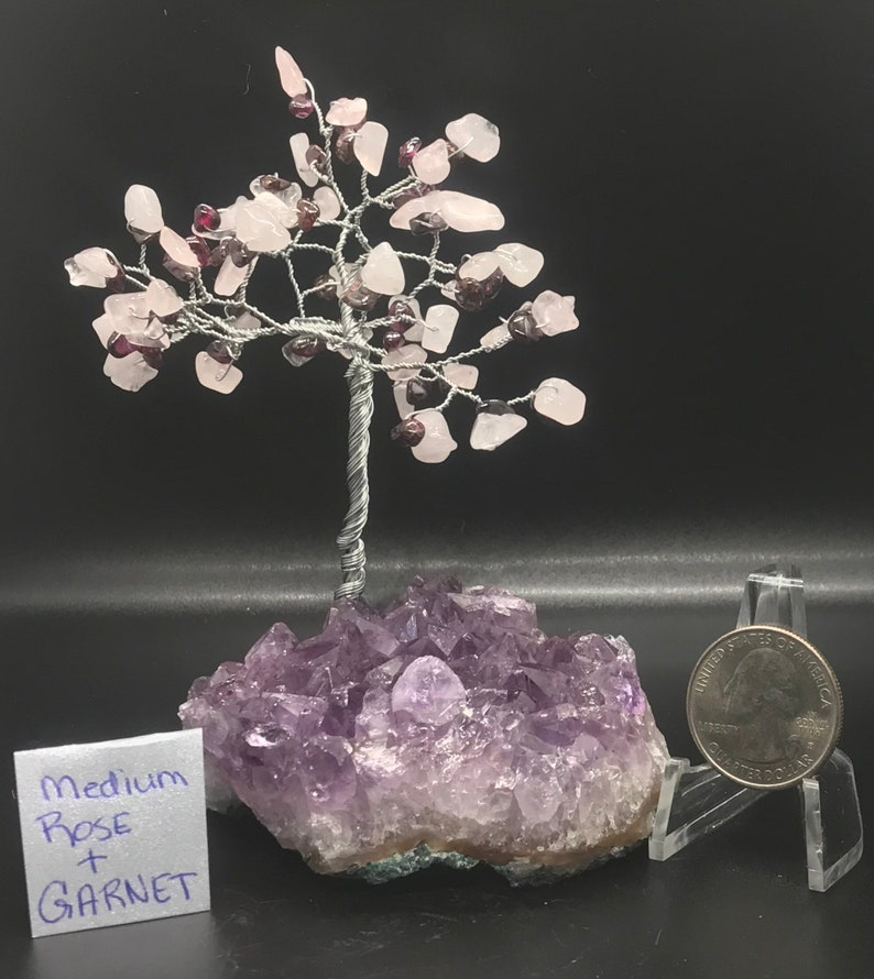 Rose quartz and garnet tree sculpture image 0