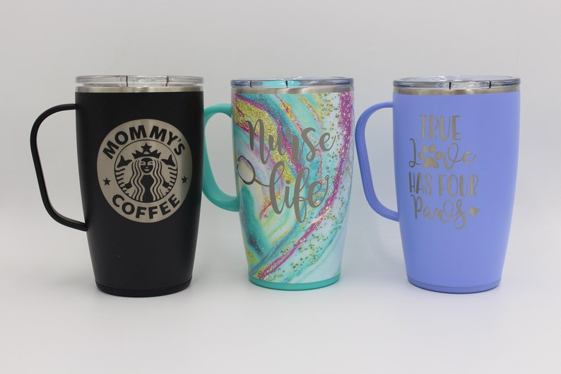 Tea Mug Coffee Mug Traveler Traveling Mug Swig Engraved 18oz Swig Mug