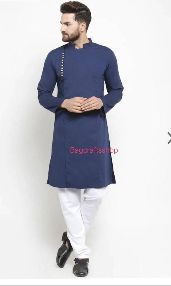 Indian Ethnic Dress Men/'s Kurta 100/% Cotton Wear Men/'s Shirt Plain Size S-7XL