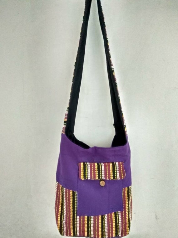 New Purple Hobo Shoulder//Sling Hippie Bag Purse Tote with Zipper /& Front Pocket