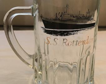 Vintage SS Rotterdam Glass Beer Mug