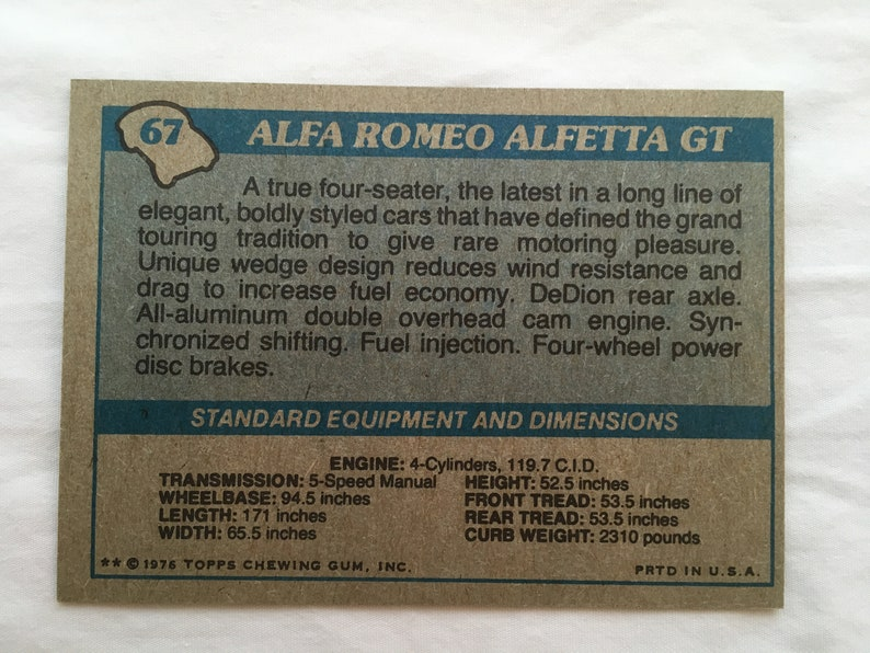 Vintage Alfa Romeo Topps Autos of 1977 Complete Set of 3 Cards