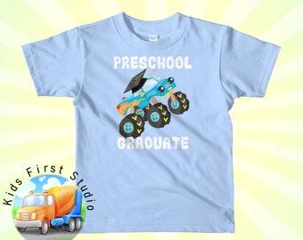 e479aa4fd Preschool Graduate Monster Truck Graduation Pre-K Gift Short Sleeve Kids  Toddler T-Shirt Preschool Grad Graduation Gift Idea Preschooler Tee