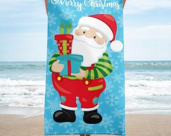 Dear Santa You Will Find Me At The Beach Kitchen TowelBeach Christmas Tea Towel