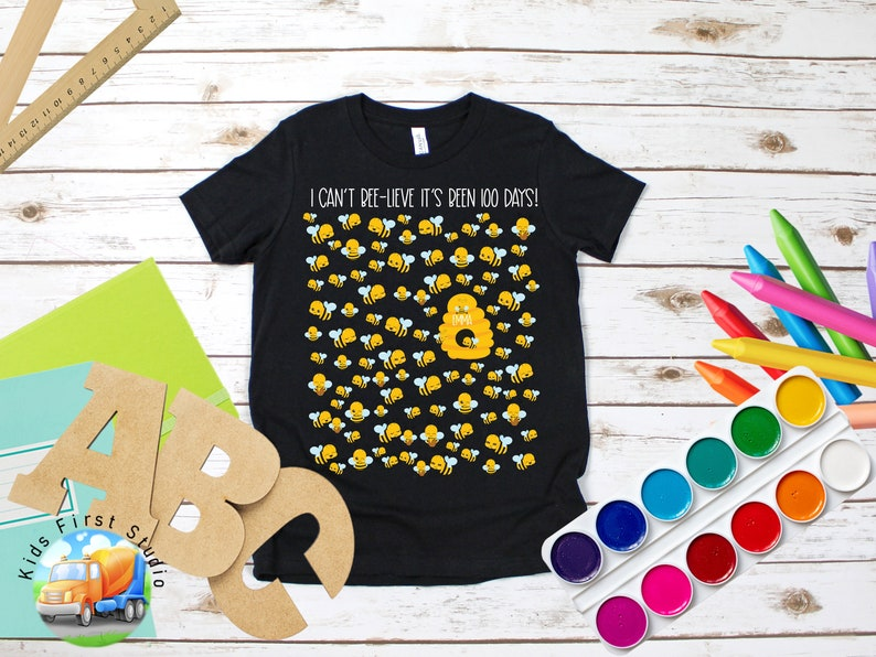 PERSONALIZED Bees Bee Hive 100 Days Of School Preschool Pre-K T-Shirt 100th Day Of School Shirt Kids Girls Boys 1st 2nd Grade Teachers Tee