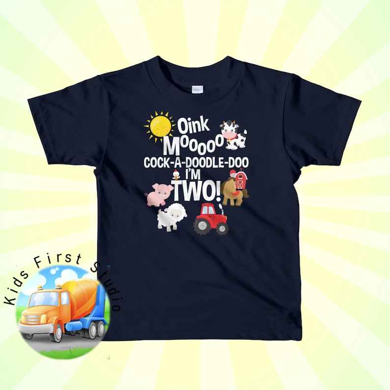 2nd Birthday Farm Animals Tractor T Shirt 2 Year Party Shirt Favorite Nursery Rhyme Short Sleeve Kids Toddler T Shirt Cow Sheep Tractor Tee