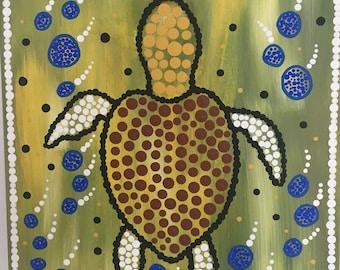 Aboriginal and Torres Strait Islander Art - Turtle on the reef