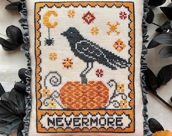 DIGITAL PDF Pattern: A Raven's Reply Cross Stitch Digital Download by Luminous Fiber Arts