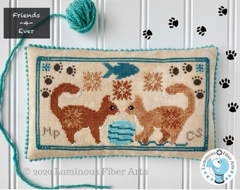 DIGITAL PDF Pattern: Friendship Series Playful Cats Cross Stitch by Luminous Fiber Arts