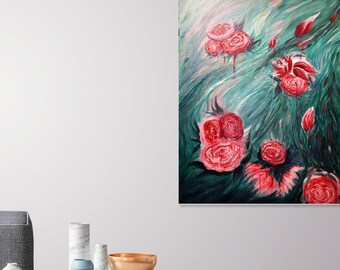 Large Abstract Acrylic Flower Painting