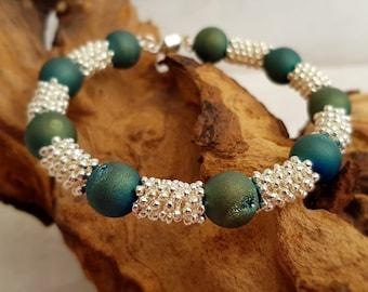 Green silver plated bracelet. Green bracelet. Silver plated bracelet. Green cuff bracelet. Gift for her. Womens bracelet. Druzy quartz.