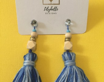 Geo Inspired Tassle Earrings - Multi Blue