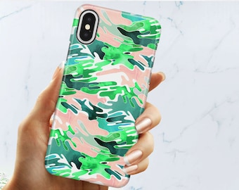 Green Camouflage CAMO Phone Case For iPhone X iPhone 8/8plus iPhone 7/7plus Iphone 6s/6plus Protective Hard Plastic Cover