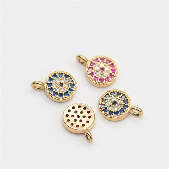 Evil Eye Connector Pendant Cubic Jewelry Supplies Charm DIY Pendants Charms